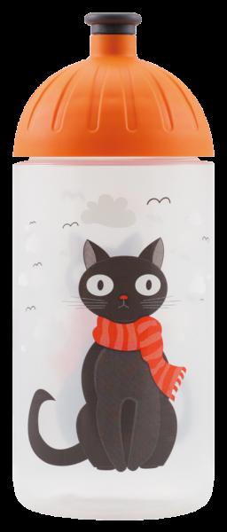 ISYbe Kinder-Trinkflasche, Katze 0,5L, BPA-frei, auslaufsicher, Kohlensäure geeignet