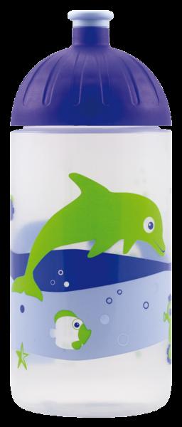 ISYbe Kinder-Trinkflasche, Fische retro 0,5L, BPA-frei, auslaufsicher, Kohlensäure geeignet