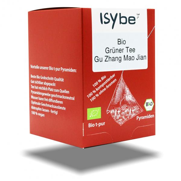 ISYbe BIO Tee: Grüntee Gu Zhang Mao Jian Faltschachtel mit 10 Pyramiden - 3D Ansicht