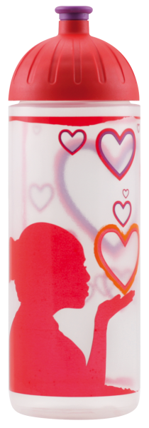 ISYbe Schul-Trinkflasche, Love 0,7L, BPA-frei, auslaufsicher, Kohlensäure geeignet
