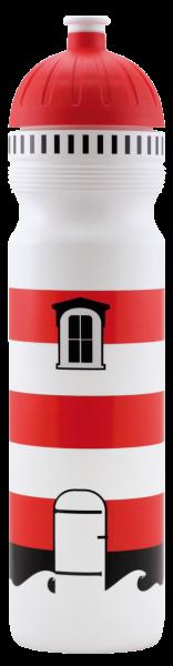 ISYbe Schul-Trinkflasche, Leuchtturm 1,0L, BPA-frei , auslaufsicher, Kohlensäure geeignet