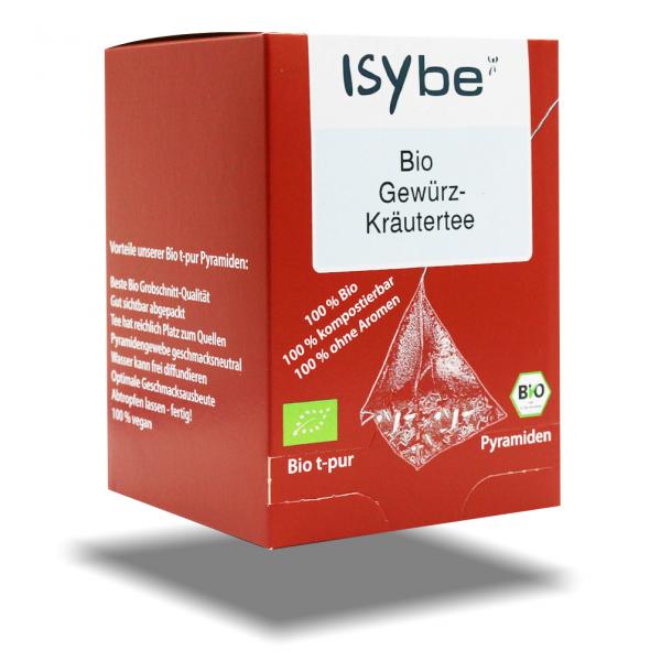 ISYbe BIO Tee: Gewürz-Kräutertee Faltschachtel mit 10 Pyramiden - 3D Ansicht
