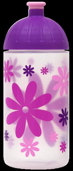 ISYbe Trinkflasche transparent Blumen 0,5 L