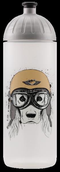 ISYbe Schul-Trinkflasche, Hund mit Helm 0,7L, BPA-frei, auslaufsicher, Kohlensäure geeignet