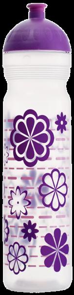 ISYbe Trinkflasche transparent Blumen 1 L