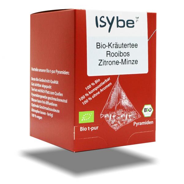 ISYbe BIO Tee: Kräutertee Rooibos-Zitrone Faltschachtel mit 10 Pyramiden - 3D Ansicht