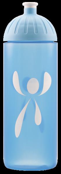 ISYbe Fitness-Trinkflasche, Logo blautransparent 0,7L, BPA-frei, auslaufsicher, Kohlensäure geeignet