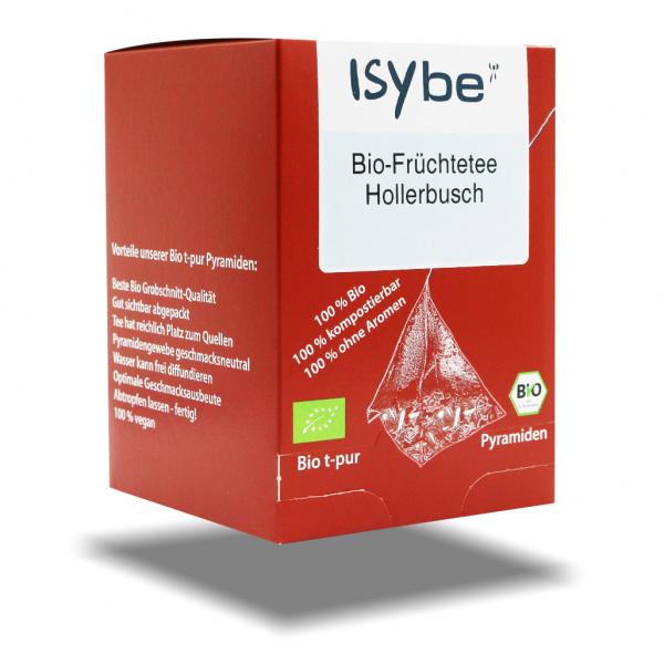ISYbe BIO Tee: Früchtetee Hollerbusch Faltschachtel mit 10 Pyramiden - 3D Ansicht