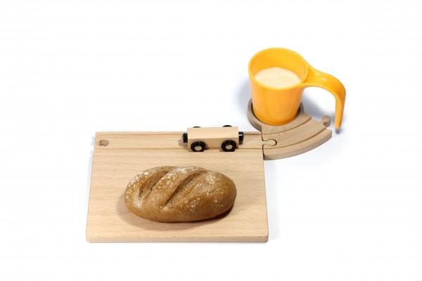 Holz Eisenbahn Frühstücksset - gelb
