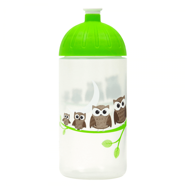 ISYbe Kinder-Trinkflasche, Eule 0,5L, BPA-frei, auslaufsicher, Kohlensäure geeignet