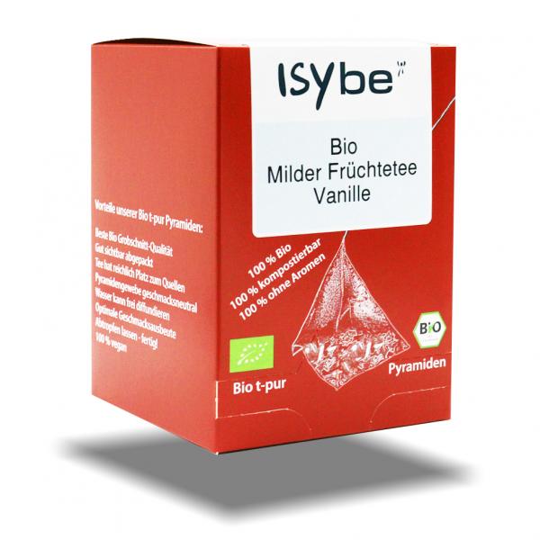 ISYbe BIO Tee: Milder Früchtetee Vanille Faltschachtel mit 10 Pyramiden - 3D Ansicht