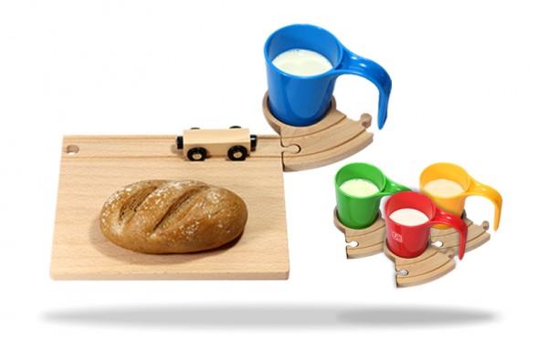 Holz Eisenbahn Frühstücksset - Übersicht