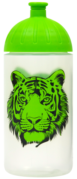 ISYbe Trinkflasche transparent Tiger grün 0,5 L