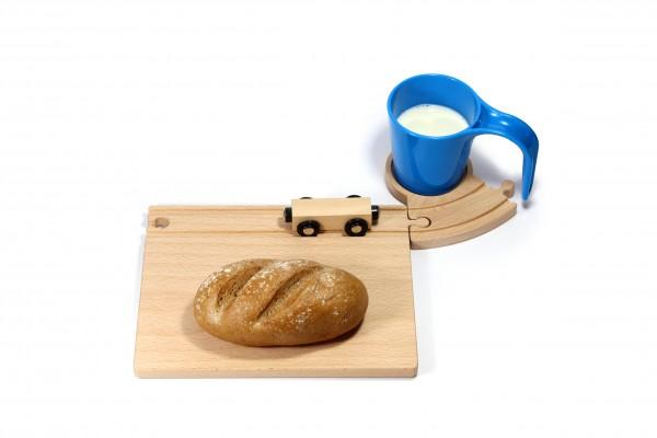 Holz Eisenbahn Frühstücksset - blau