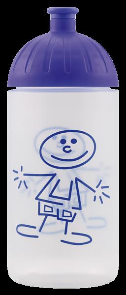 ISYbe Kinder-Trinkflasche, Strichmännchen 0,5L, BPA-frei, auslaufsicher, Kohlensäure geeignet